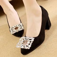 Mancienne - Jeweled Chunky-Heel Pumps