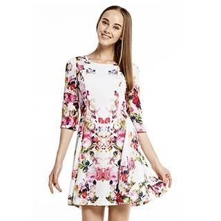 O.SA - Floral A-Line Chiffon Dress