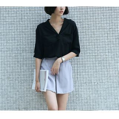 Sens Collection - V-Neck Elbow Sleeve Shirt
