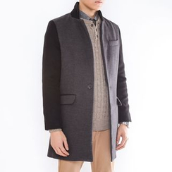 DANGOON - Color-Block Single-Breasted Coat