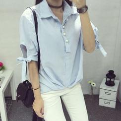 AMELA - 仿珍珠条纹短袖衬衫