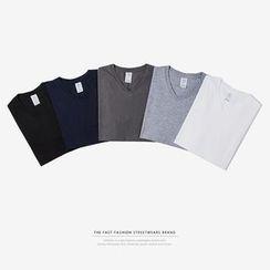 Newin - Plain V-Neck Short-Sleeve T-Shirt