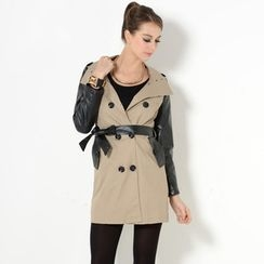 YesStyle Z - Faux Leather Sleeves Trench Coat