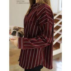 BBAEBBAE - Drop-Shoulder Pinstripe Cotton Shirt