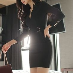 Aurora - Long-Sleeve Belted Dress
