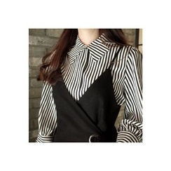 CHERRYKOKO - Bow-Neck Puff-Sleeve Stripe Blouse