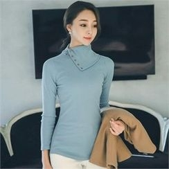 ode' - Buttoned-Neck Rib-Knit Top