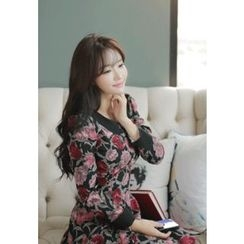 MyFiona - Puff-Shoulder Floral Print A-Line Dress