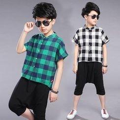 Pegasus - Kids Set: Gingham Short-Sleeve Shirt + Capri Harem Pants