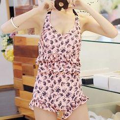 Zeta Swimwear - Floral Print Cutout Swimsuit