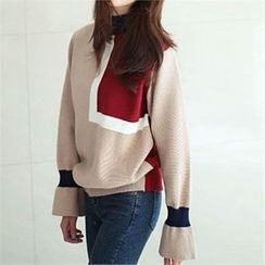 YOOM - Wool Blend Mock-Neck Color-Block Knit Top