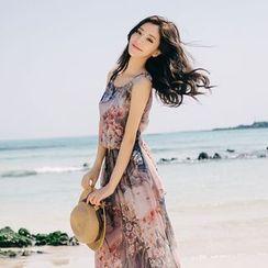 Aegean - Floral Print Sleeveless Chiffon Dress