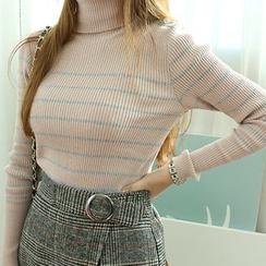 Dodostyle - Stripe Turtle-Neck Ribbed Knit Top