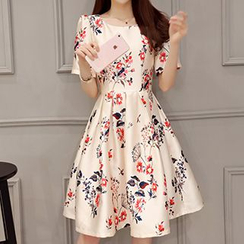 Romantica - Short-Sleeve Floral Sheath Dress