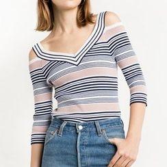 Obel - Striped 3/4 Sleeve Cut Out Shoulder Knit Top