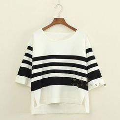 Mushi - 3/4-Sleeve Striped Knit Top