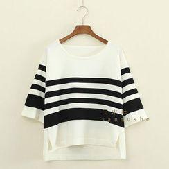 三木社 - 七分袖條紋針織衫