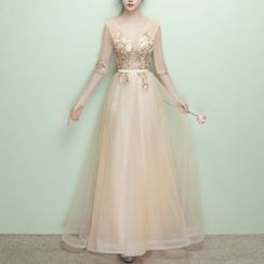 Rosita - V-Neck Elbow-Sleeve Sequined Evening Gown