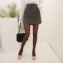 DABAGIRL - Wool Blend Tweed Mini Skirt