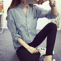 BOHIN - 純色立領七分袖襯衫