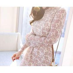 Marlangrouge - Ruffle-Hem Sleeve Chiffon Dress