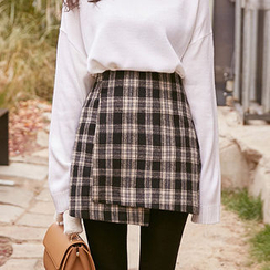 chuu - Plaid Asymmetric Mini Wrap Skirt