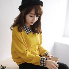 Tokyo Fashion - Plaid Collar Knit Top