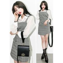 INSTYLEFIT - Sleeveless Glen-Plaid Check Mini Dress
