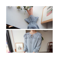 LEELIN - Tie-Neck Frilled Blouse