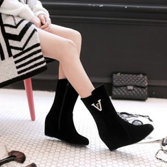 Shoes Galore - Embellished Hidden Wedge Mid-Calf Boots
