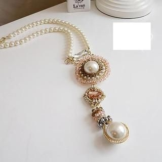 Love Generation - Crystal & Faux Pearl Drop Necklace