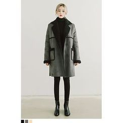 QQQQ - Double-Breasted Faux-Shearling Long Jacket