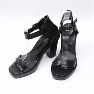 midnightCOCO - Faux Leather Ankle-Strap Heel Sandals