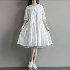 Clover Dream - Elbow-Sleeve Embroidered A-Line Dress