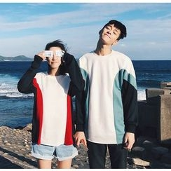 Bestrooy - Couple Matching Color Block Sweatshirt