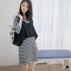 OrangeBear - Set: Striped T-shirt Dress + Trapeze Camisole