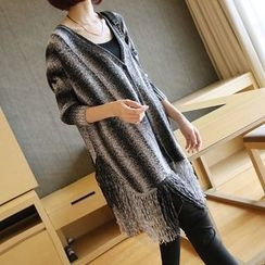 YIDIYU - Striped Fringed 3/4 Sleeve Long Cardigan