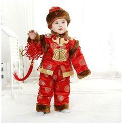 SEE SAW - 小童唐裝套裝: 印花外套 + 印花褲 + 帽子