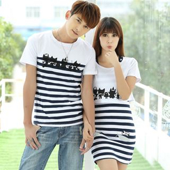 Igsoo - Couple Matching Striped T-Shirt / Short-Sleeve Striped Dress