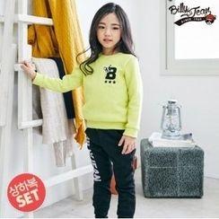 BILLY JEAN - Kids Set: Brushed Fleece Lined Lettering Sweatshirt + Lettering Pants