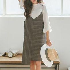 Cloud Nine - Pinstriped Asymmetric Pinafore Dress