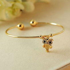 Cheermo - Rhinestone Owl Open Bangle