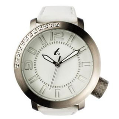 t. watch - Diamond Lens Glass White Leather Strap Watch