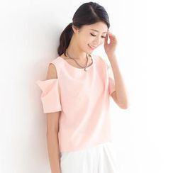 SO Central - Cutout Shoulder Short-Sleeved Top