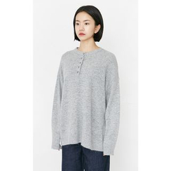 Someday, if - Buttoned-Neck Wool Blend Knit Top