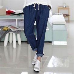 CHICFOX - Drawstring-Waist Harem Jeans