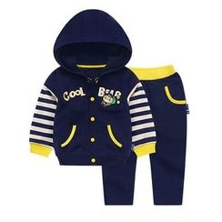 Ansel's - 童裝套裝: 貼布繡連帽衫 + 運動褲