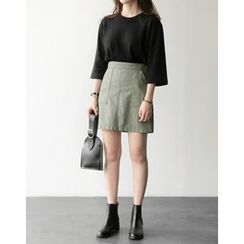 UPTOWNHOLIC - 3/4-Sleeve Wool Blend Knit Top