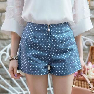 Tokyo Fashion - Zip-Front Dotted Denim Shorts