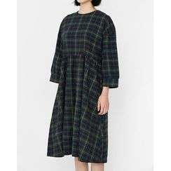 Someday, if - Plaid Midi Empire Dress